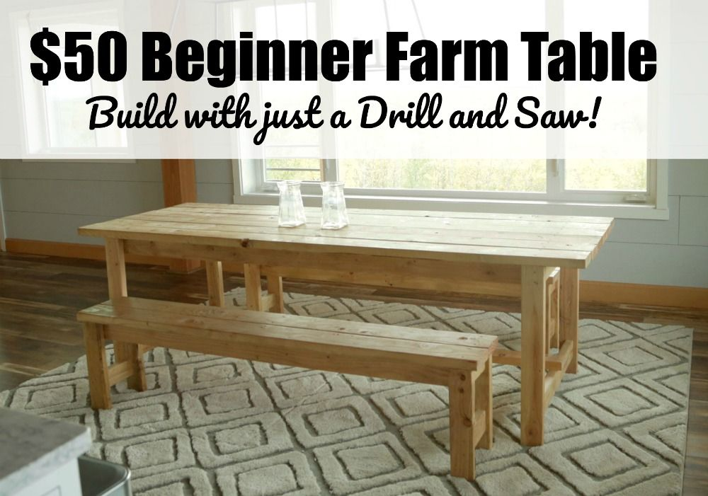 Beginner Farm Table 2 Tools 50 Lumber Diy Dining Table Diy