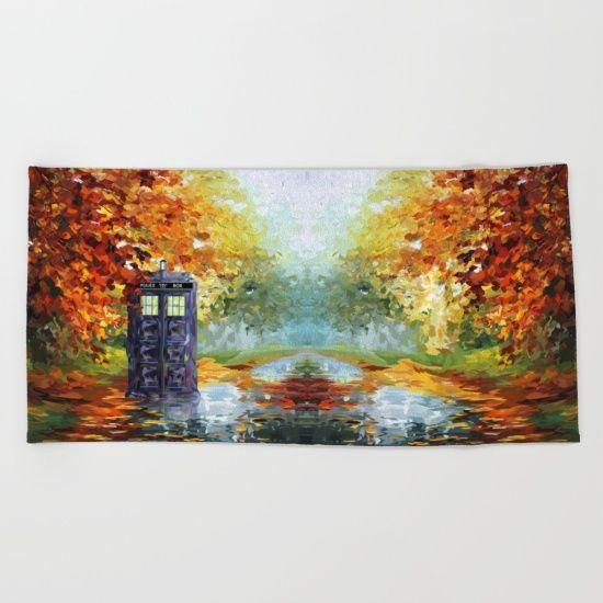 starry Autumn blue phone box Digital Art BEACH TOWEL #beachtowel #towel #clothing #tshirt #tardis #doctorwho #painting #art #starrynight #autumn