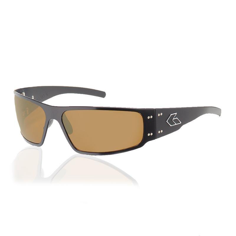 Black frame brown polarized lens sunglasses branding
