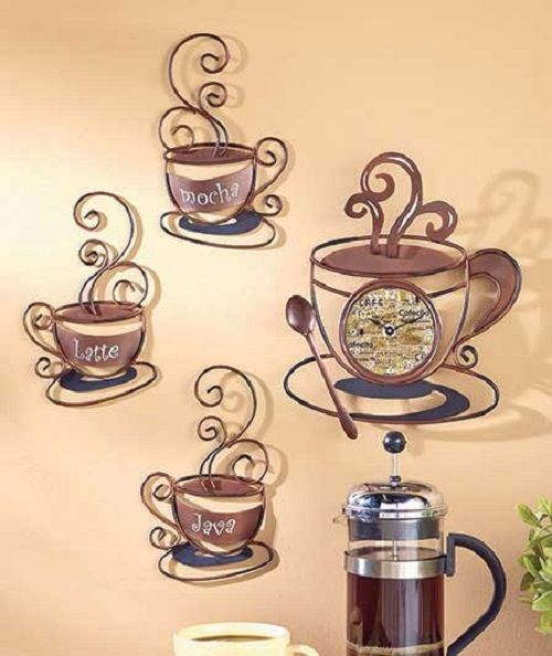 Metal Clock Coffee Cup Decor Kitchen Sign Plaque Cafe Shop