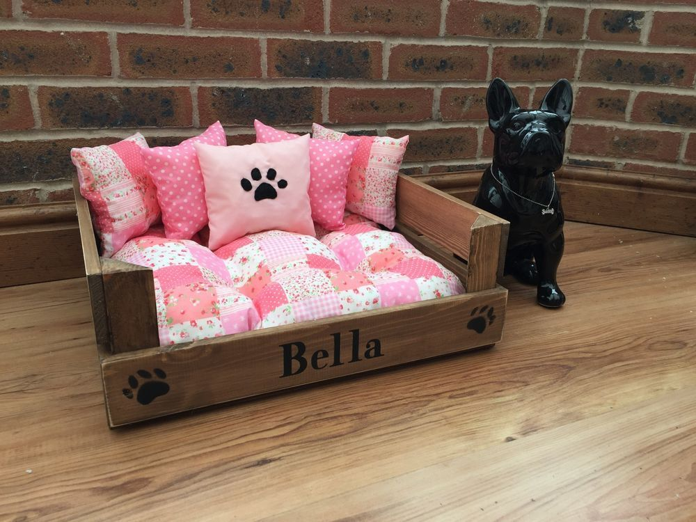 pink girly pet beds can be personalized puppy dog cat pug
