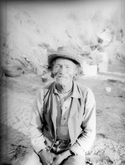 a hungry stomach makes a short prayer ― #paiute proverb | an old #chemehuevi indian man smoking | #california, c.1900.