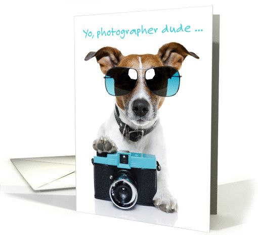 Birthday Card For Photographer Dog With Sunglasses And Camera Card
