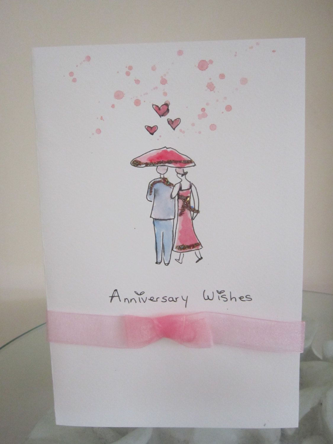 Watercolour Card Anniversary Card Daughter Card Son Card Etsy Hand Painted Card Watercolor Cards Paint Cards