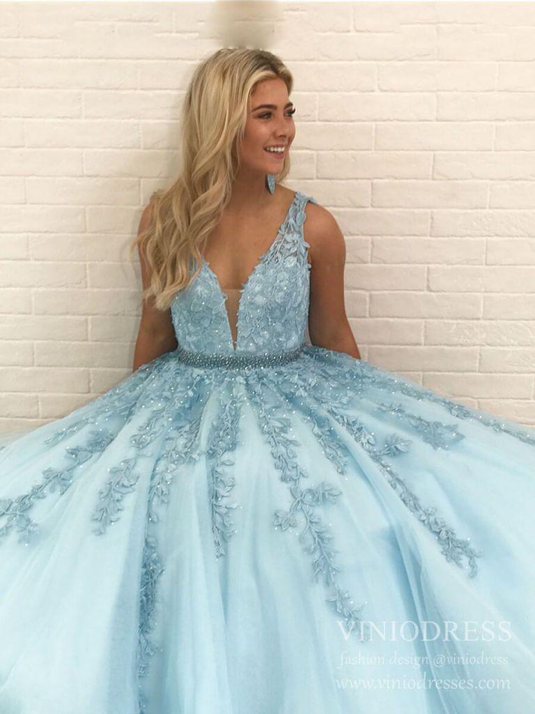 Classy light blue lace long prom dresses for juniors