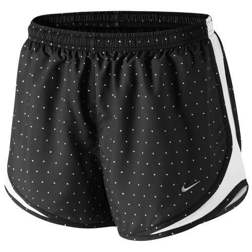 Nike Tempo Shorts - Women's - Running - Clothing - Black/White/Black/Matte  Silver This pattern is adorable, I've never seen it before!