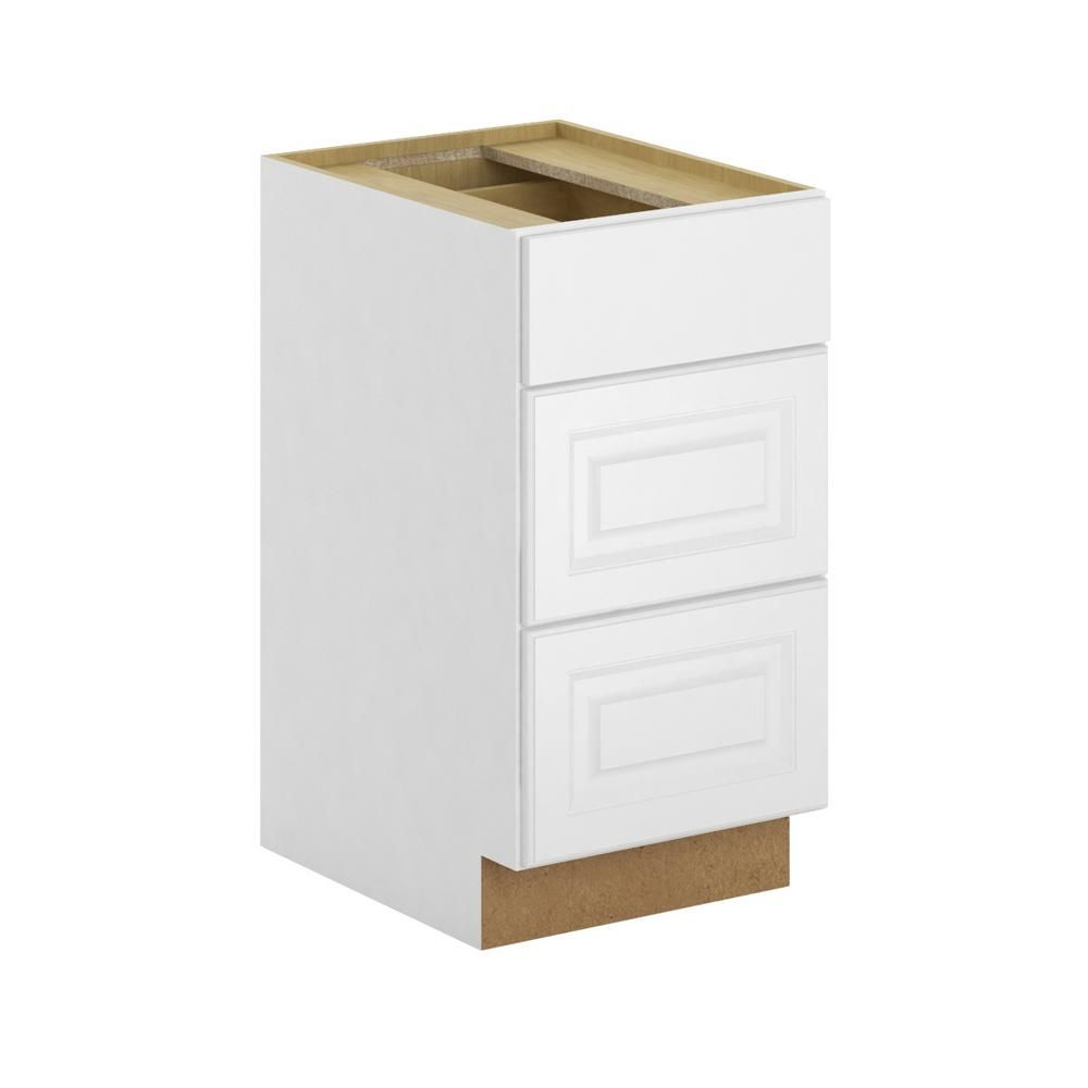 Hampton Bay Madison Assembled 18x34 5x24 In 3 Drawer Base Cabinet With Soft Close In Warm White Base Cabinets Warm White Cabinet