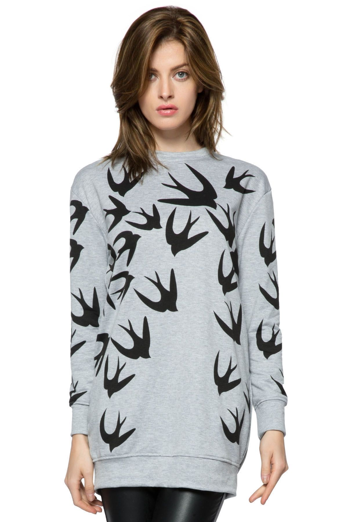 e8fc40078 Swallow Print Long Sleeve Dress | If I were just rich... | Pinterest