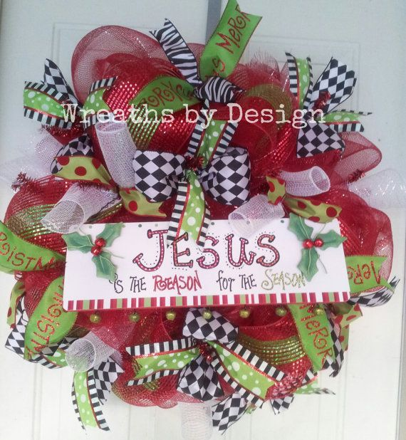 jesus is the reason christmas wreath by wreathsbydesign1 on etsy 7500 - Christmas Wreaths Etsy