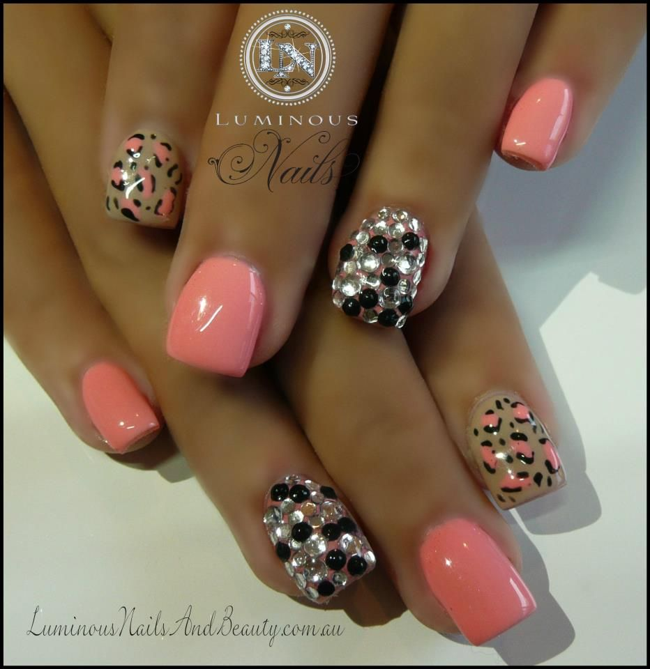 406059409667602445890311852007ng 932960 pixels nails pretty coral leopard print nails with crystals sculptured acrylic with custom coral gel custom nude gel leopard print clear bl prinsesfo Gallery