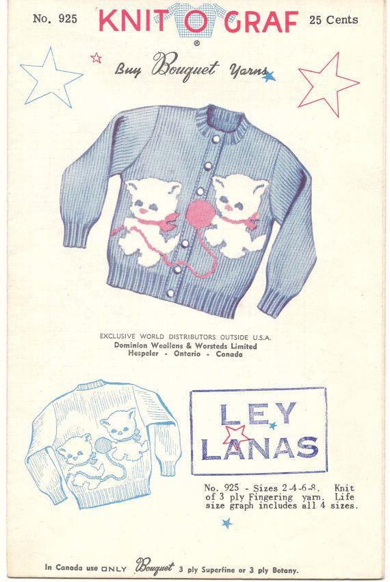 Knit O Graf Pattern 925 Kitten Cardigan Sweater Bo… | Vintage Sewing ...