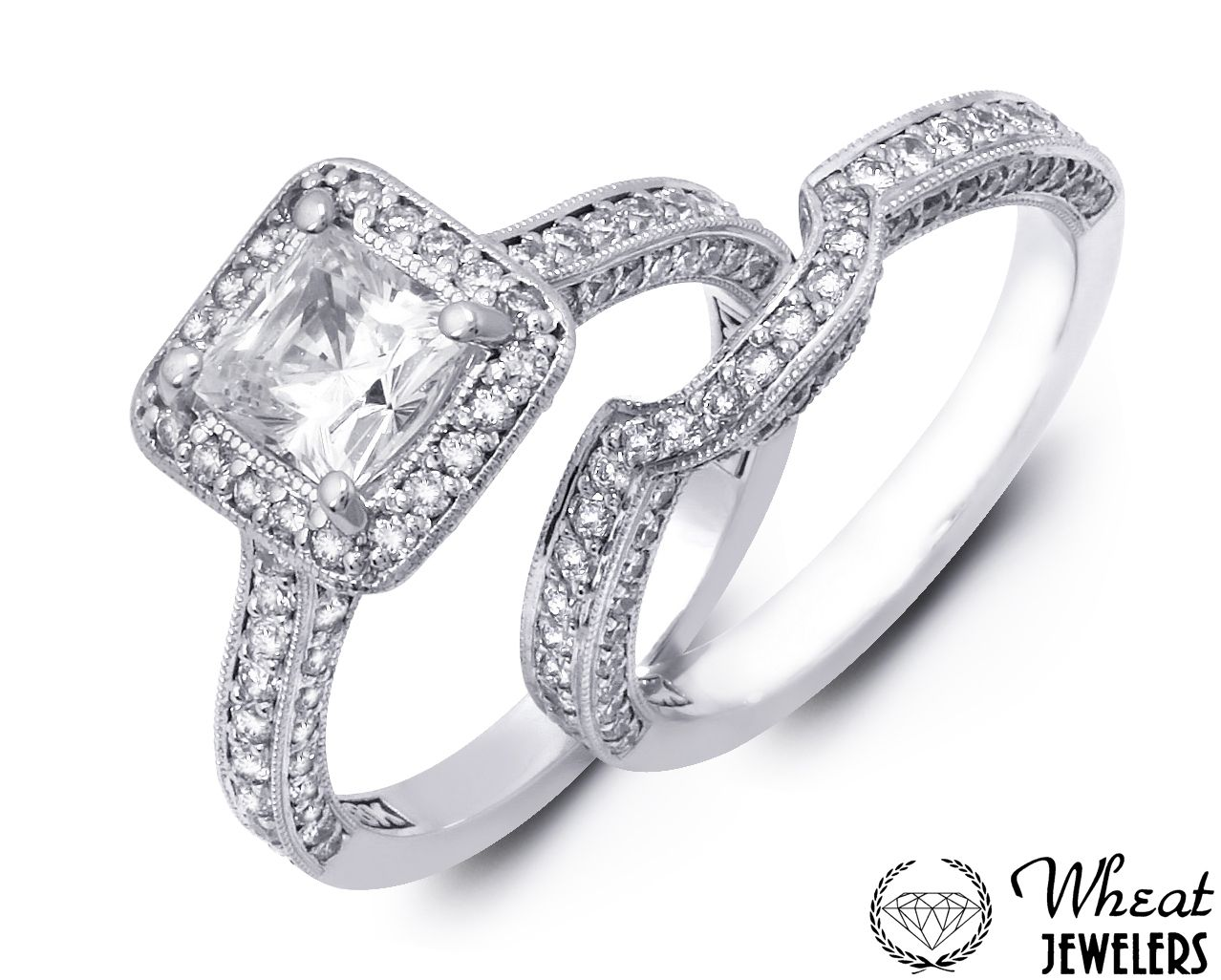 Square Halo Engagement Ring With Diamond Encrusted Band And Matching Wedding Available At Wheat Jewelers