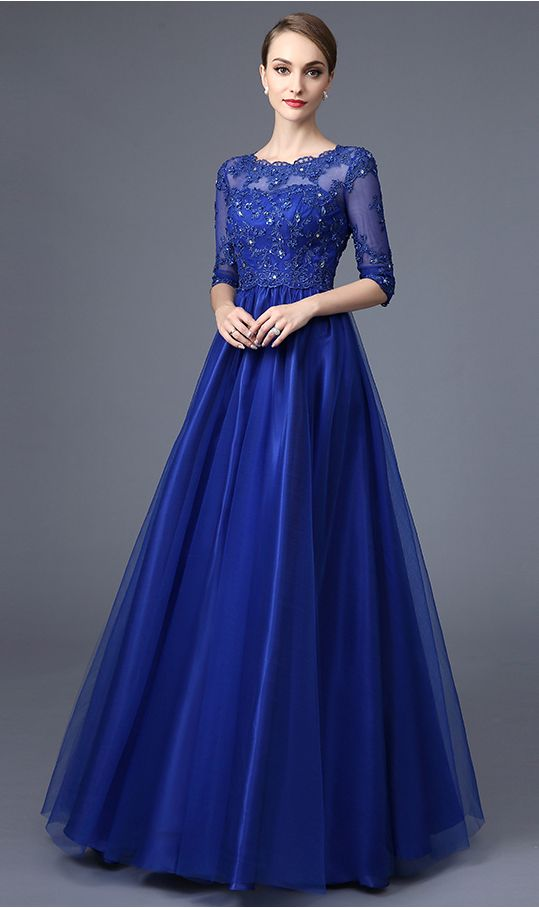 Half Sleeves Royal Blue Lace Evening Prom Dresses,High Neck Empire ...