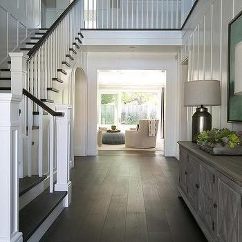 Foyer with full wall board and batten, transitional, entrance ...