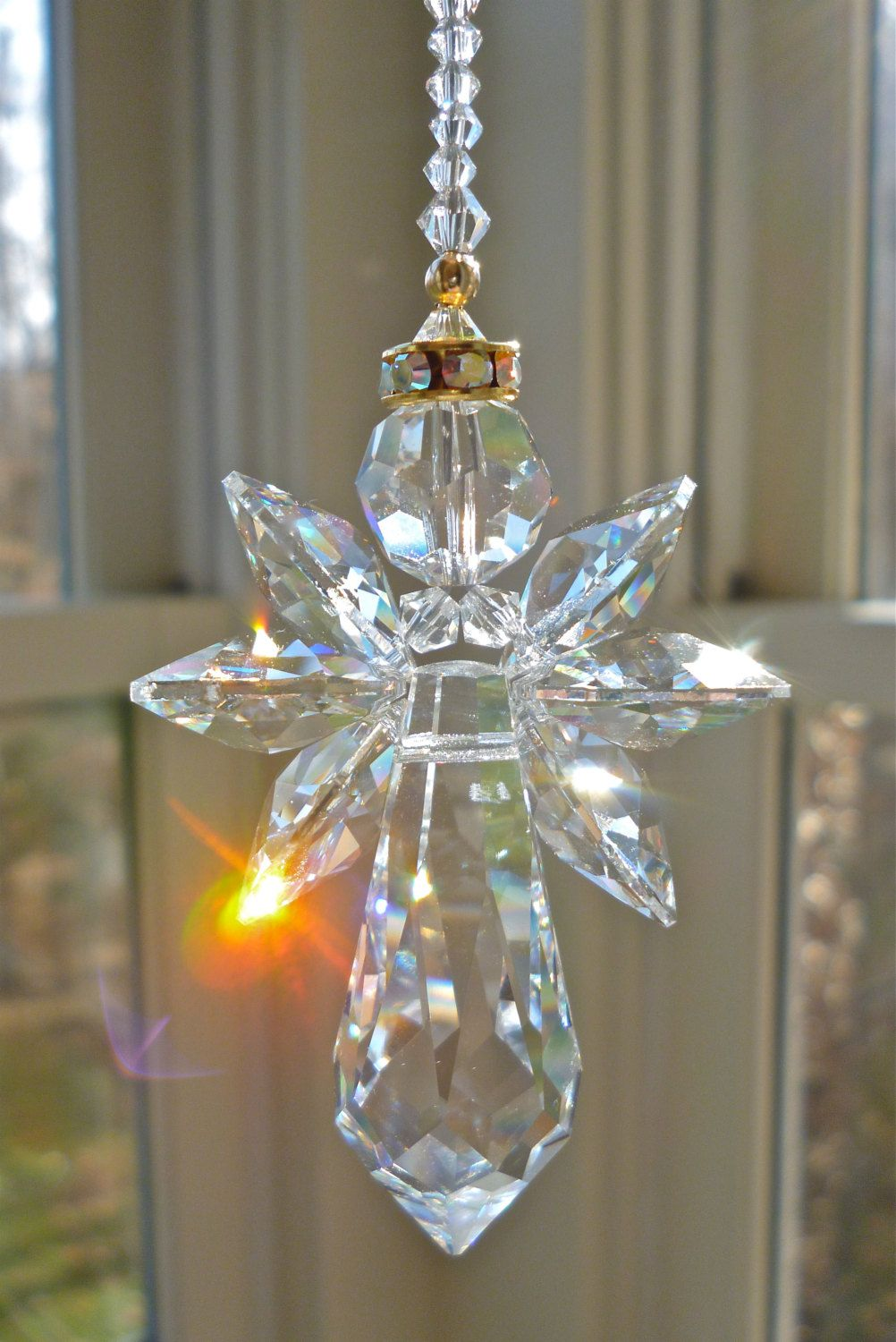 Long Gold Trimmed Angelina   9 Swarovski Crystal Angel Suncatcher.