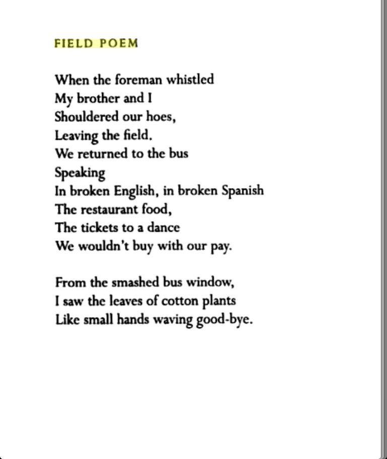 Field Poem by Gary Soto.