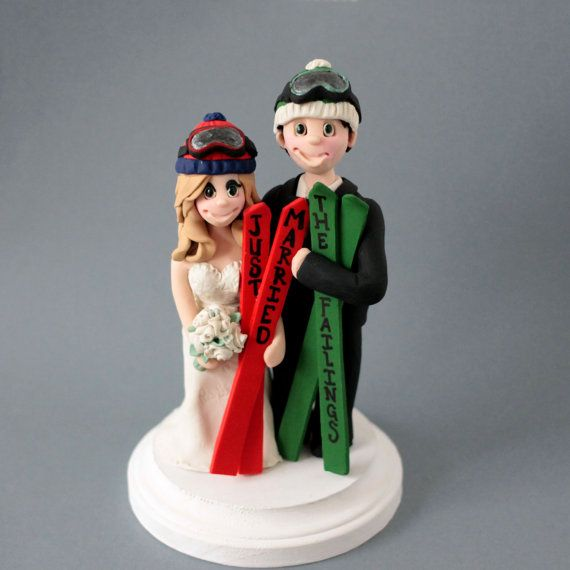 Skiing Wedding Cake Topper Ski Bride And Groom Perfect For A Winter