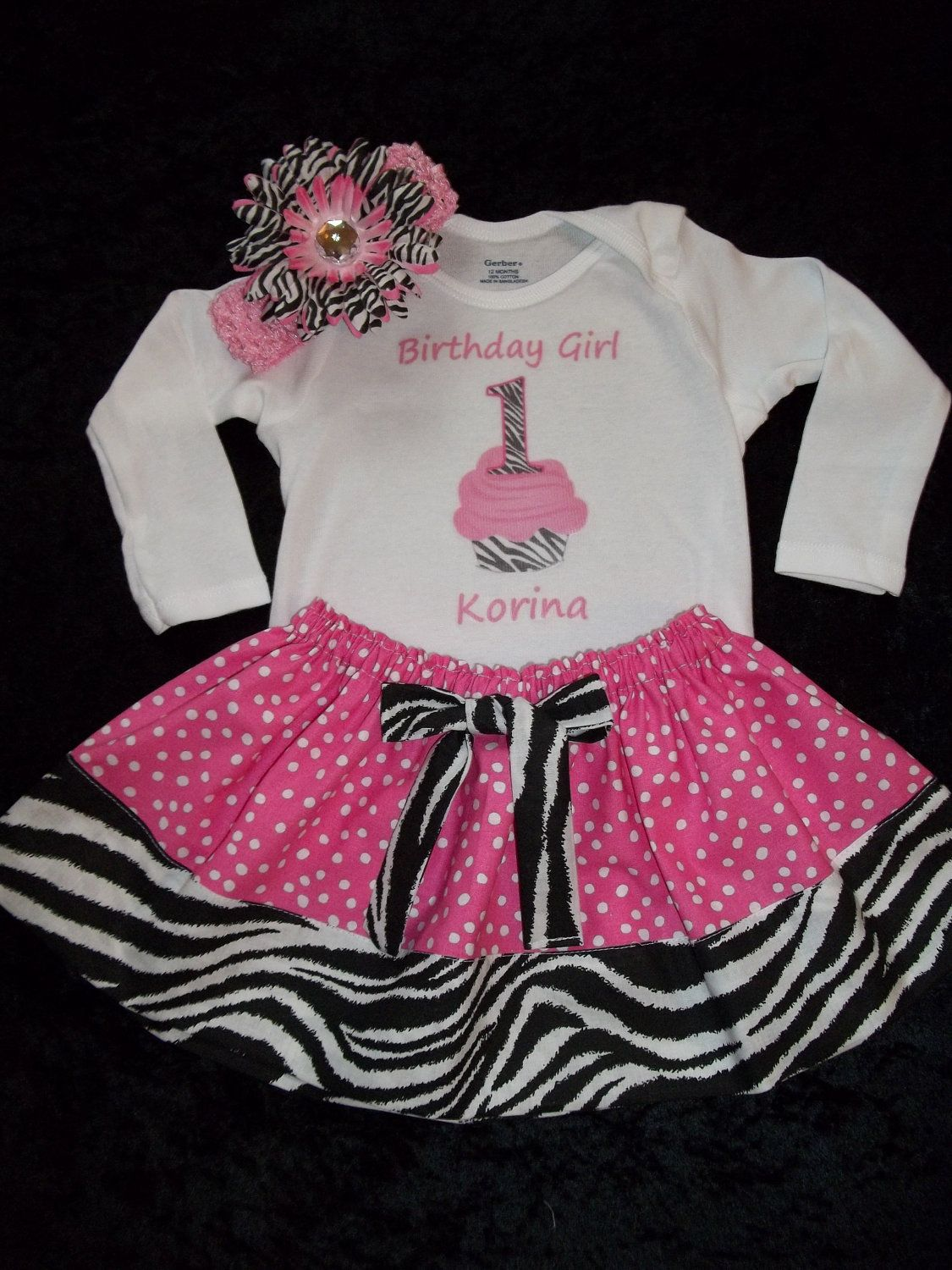 510eb8f8895f4 Birthday outfit cupcake baby girl pink dress onesie personalized skirt  toddler zebra DIVA size 3 6 9 12 18 24 months free flower headband.  45.50