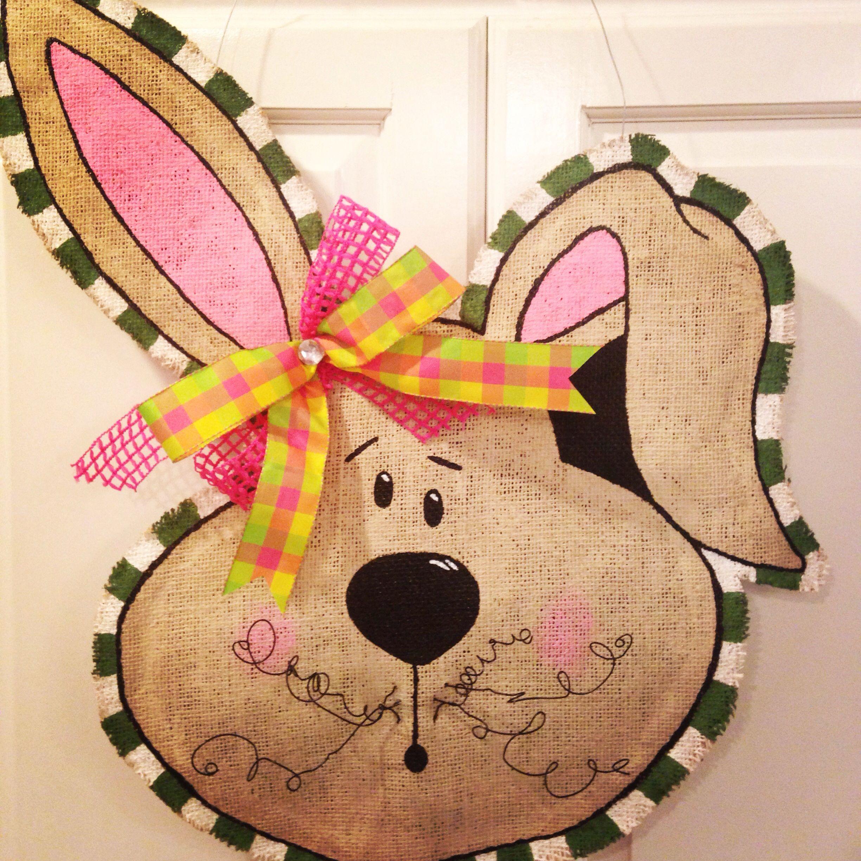 Burlap door hangers easter bunny spring crafts and diy