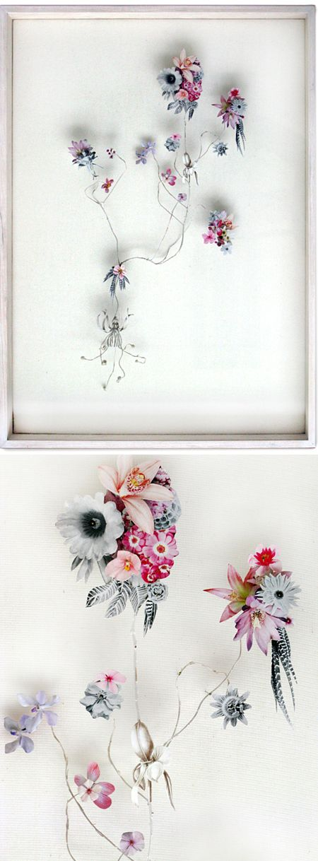 Whoa. Utrecht based artist Anne Ten Donkelaar is taking cut flowers to an entirely new level! This amazing series of paper-cut collage is titled, Flower Constructions. I love the crazy combination of plants & flowers, and the mixture of color & greyscale. Gor.geo.ous. Beautiful, meticulous… and, they'll never wilt!