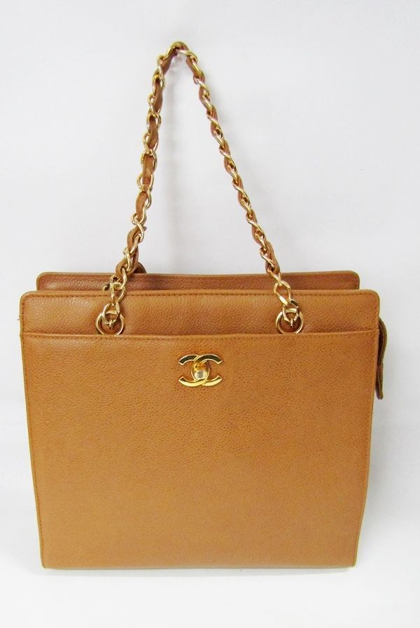 88b738f4c6df CHANEL VINTAGE TOTE CAVIAR CC GOLD CHAIN LOGO CAMEL HAND SATCHEL BAG MEDIUM   CHANEL  Vintage