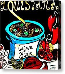 Cajun Canvas | Beignets Painting Canvas Prints - Cajun Picnic Canvas Print by Amy ...