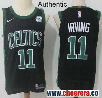 7daa4bc4b Men s Nike Boston Celtics  11 Kyrie Irving Black NBA Authentic Statement  Edition Jersey