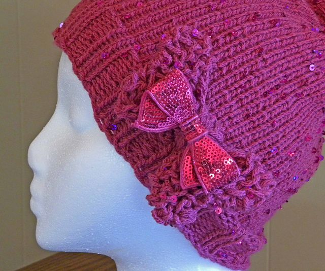 Sequined Beanie Using Yarn Bee Palette Yarn And Yarn Bow Topped With