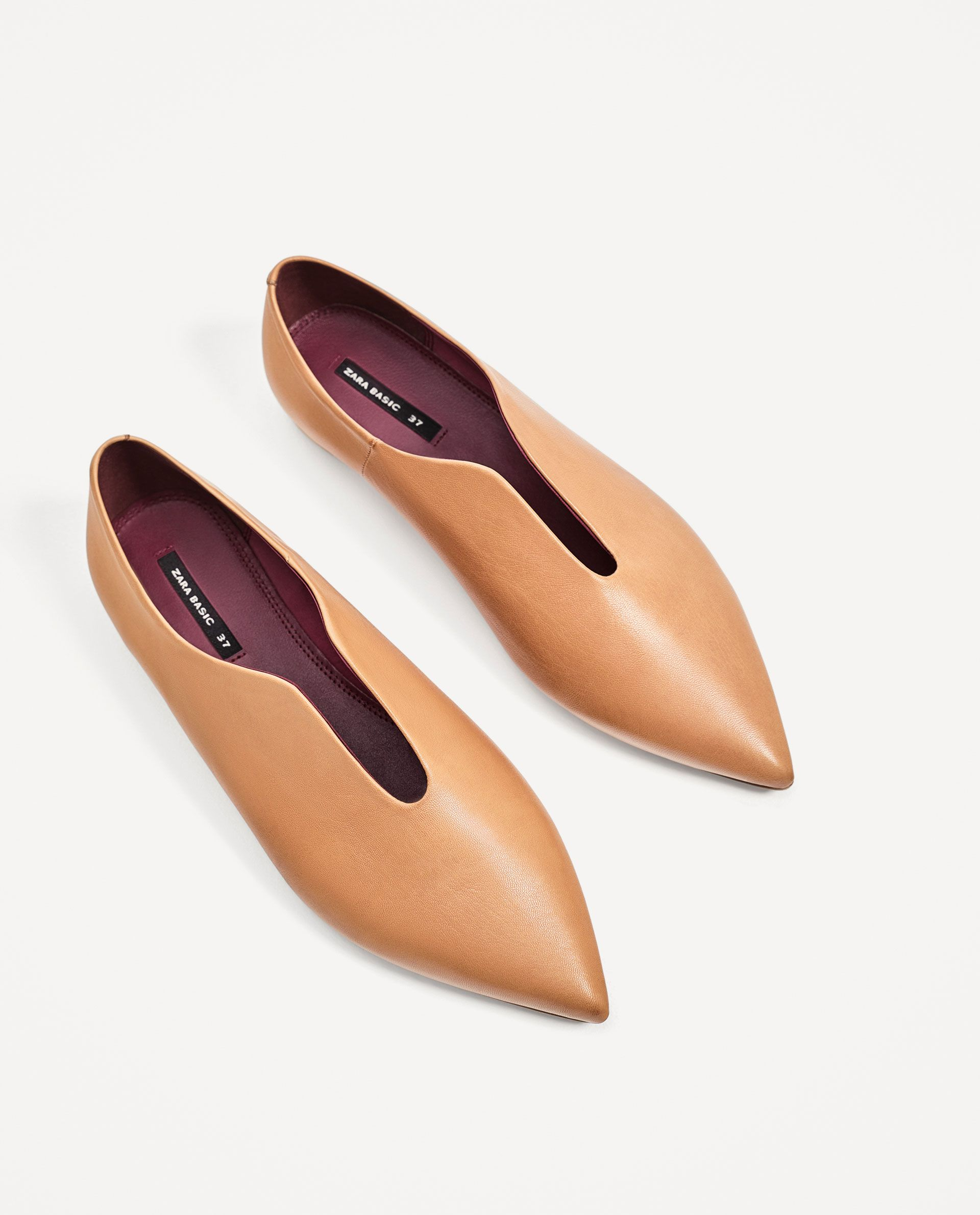 FLAT POINTY LEATHER SHOES from Zara