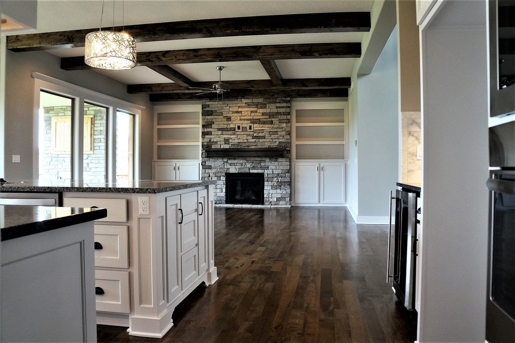 White Cabinets   Stone Fireplace   New homes, Home, White ...