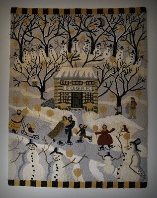 Winter Hooked Rug Living Room My Primitive Decor Pinterest Winter Living Rooms And Room