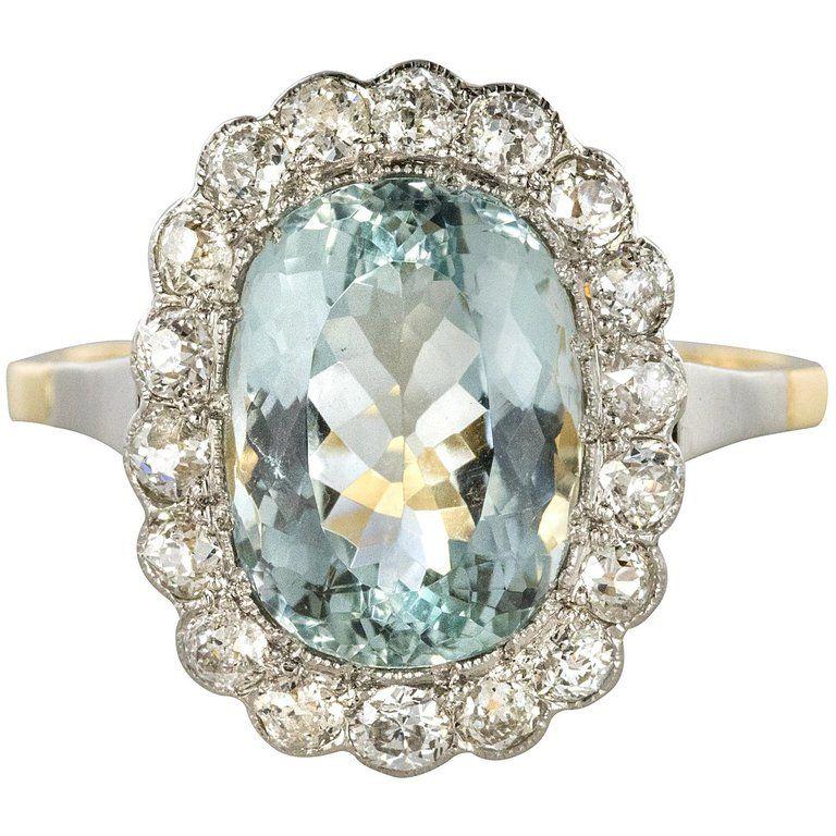 1920s 5 19 Carats Aquamarine Diamond Platinum Yellow Gold Pompadour Ring 1920s Engagement Ring Vintage Feminine Engagement Rings Diamond Dress Ring