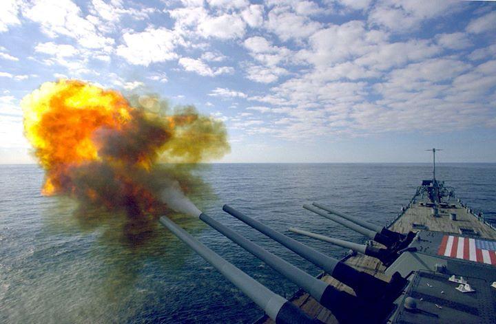 USS Iowa firing her 1000th shell.