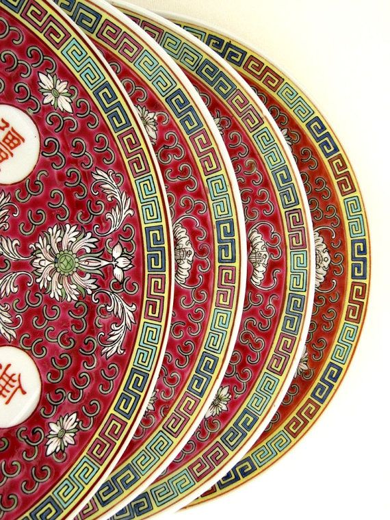 Asian Chinese Porcelain Dinner Plates Set Of 4 By Encoreemporium 80 00
