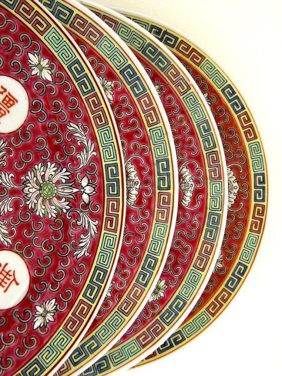 Asian Chinese Porcelain Dinner Plates Set of 4 by EncoreEmporium $80.00 & Asian Chinese Porcelain Dinner Plates Set of 4 Famille Rose ...