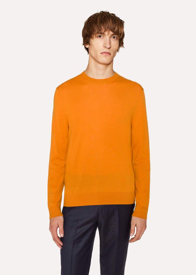 Paul Smith Mens Burnt Orange Crew Neck Merino Wool Sweater Mens