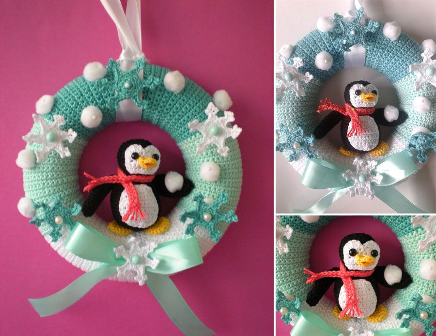 Photo of Crochet pattern door wreath winter www.crazypatterns …