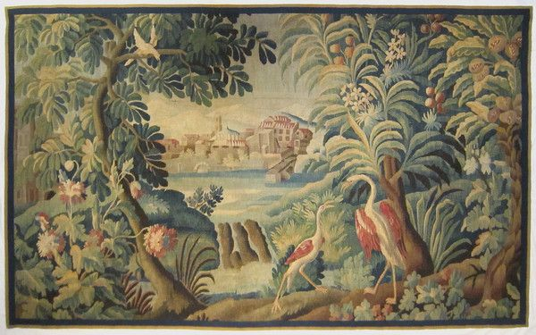 An 18th century Aubusson exotic verdure tapestry panel