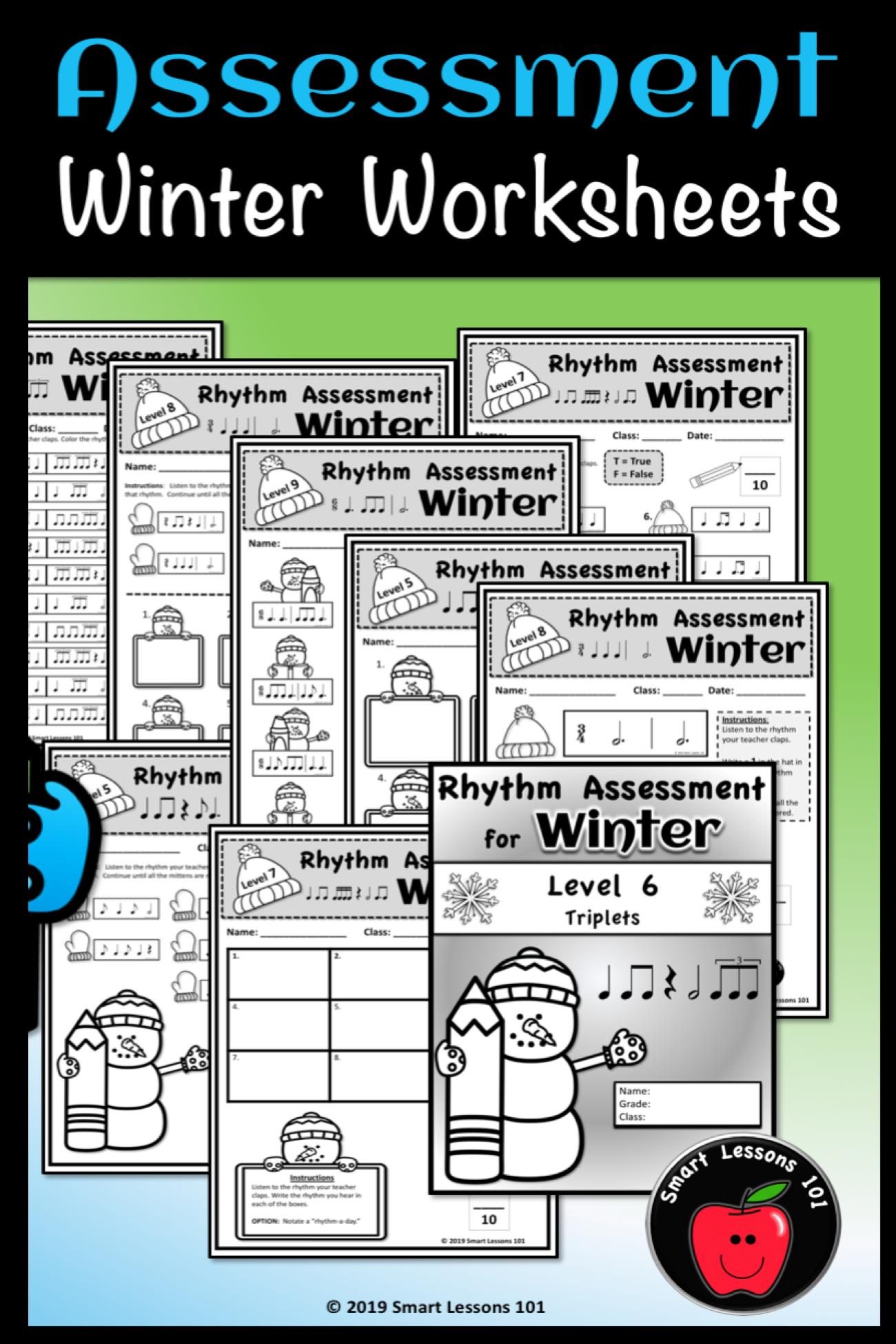 Rhythm Assessment Bundle Rhythm Worksheets Winter Music