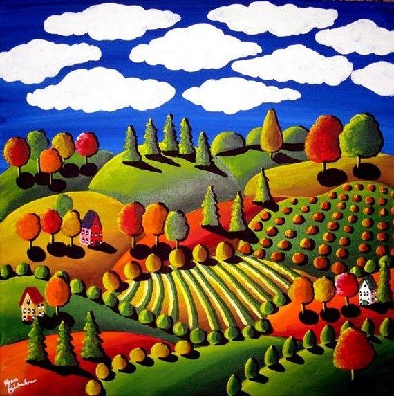 Relativ Automne coloré jour lunatique paysage Folk Art Peinture Original  EF75