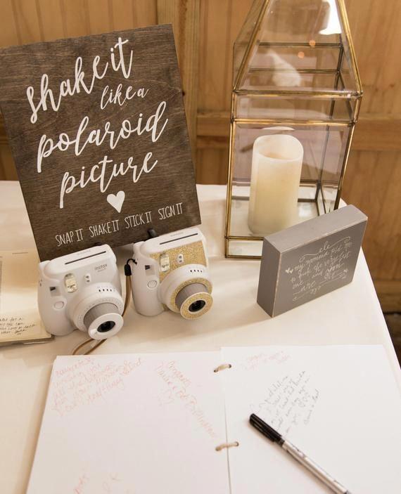 Polaroid Guest Book Sign  Rustic Wedding Signs  Wooden Wedding Signs  Shake It Like A Polaroid Picture  Wedding Guest Book is part of Wedding decorations - woodlandcustomdesign