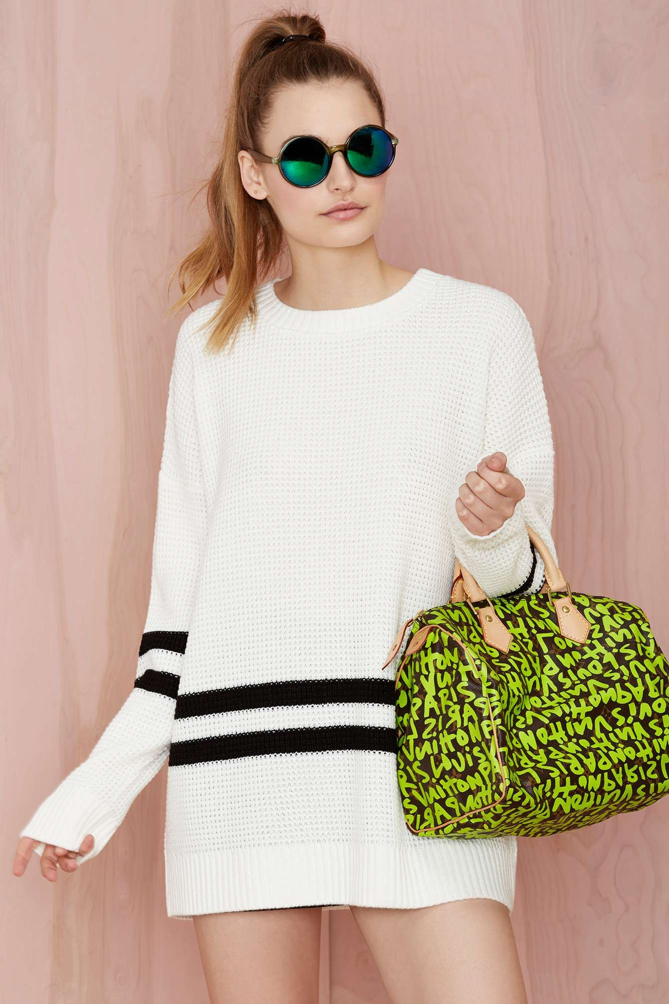 On the line waffle sweater white shop whatus new at nasty gal