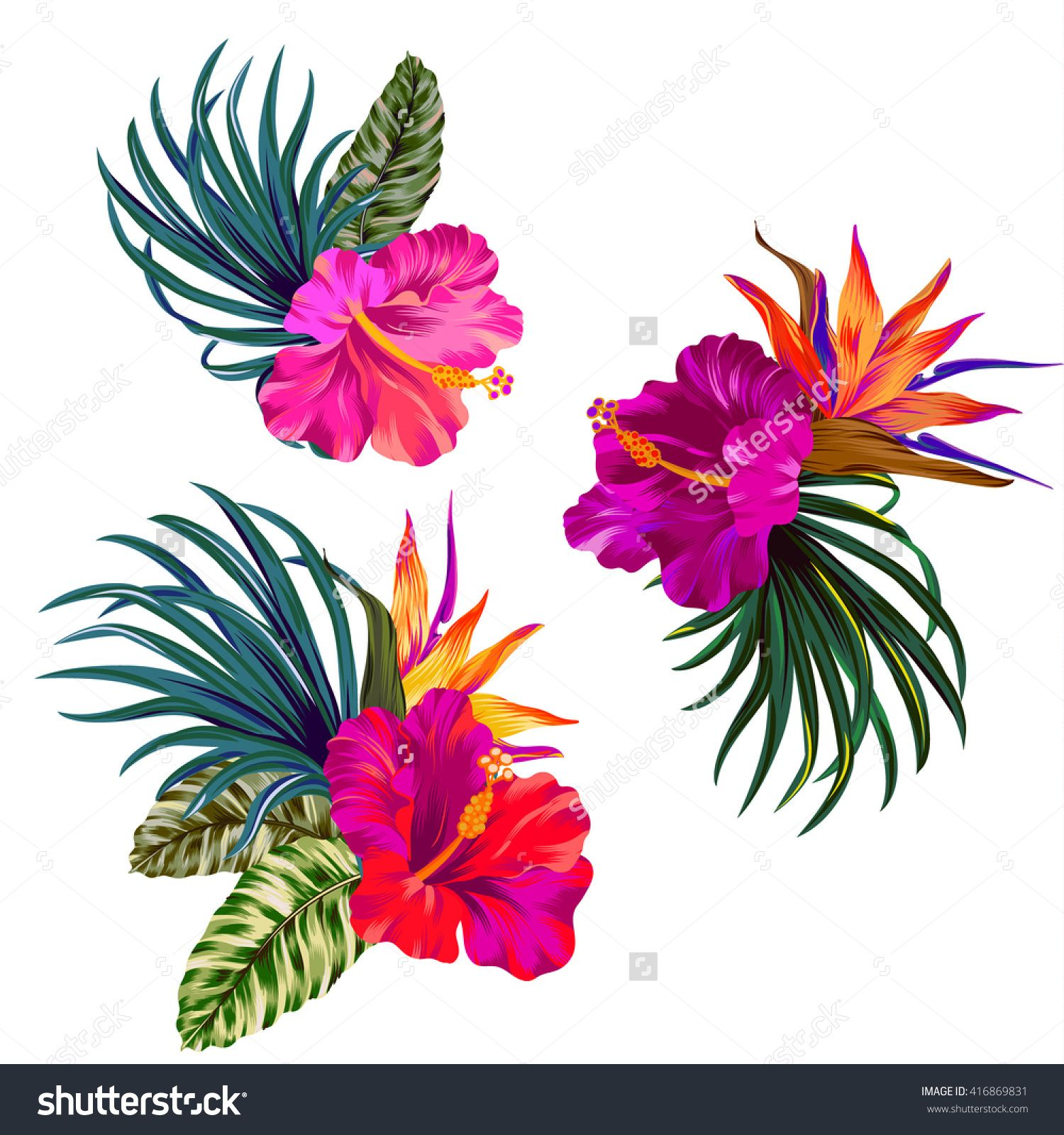 Bouquet With Hibiscus Flowers With Pink Petals Tropical Leaves And