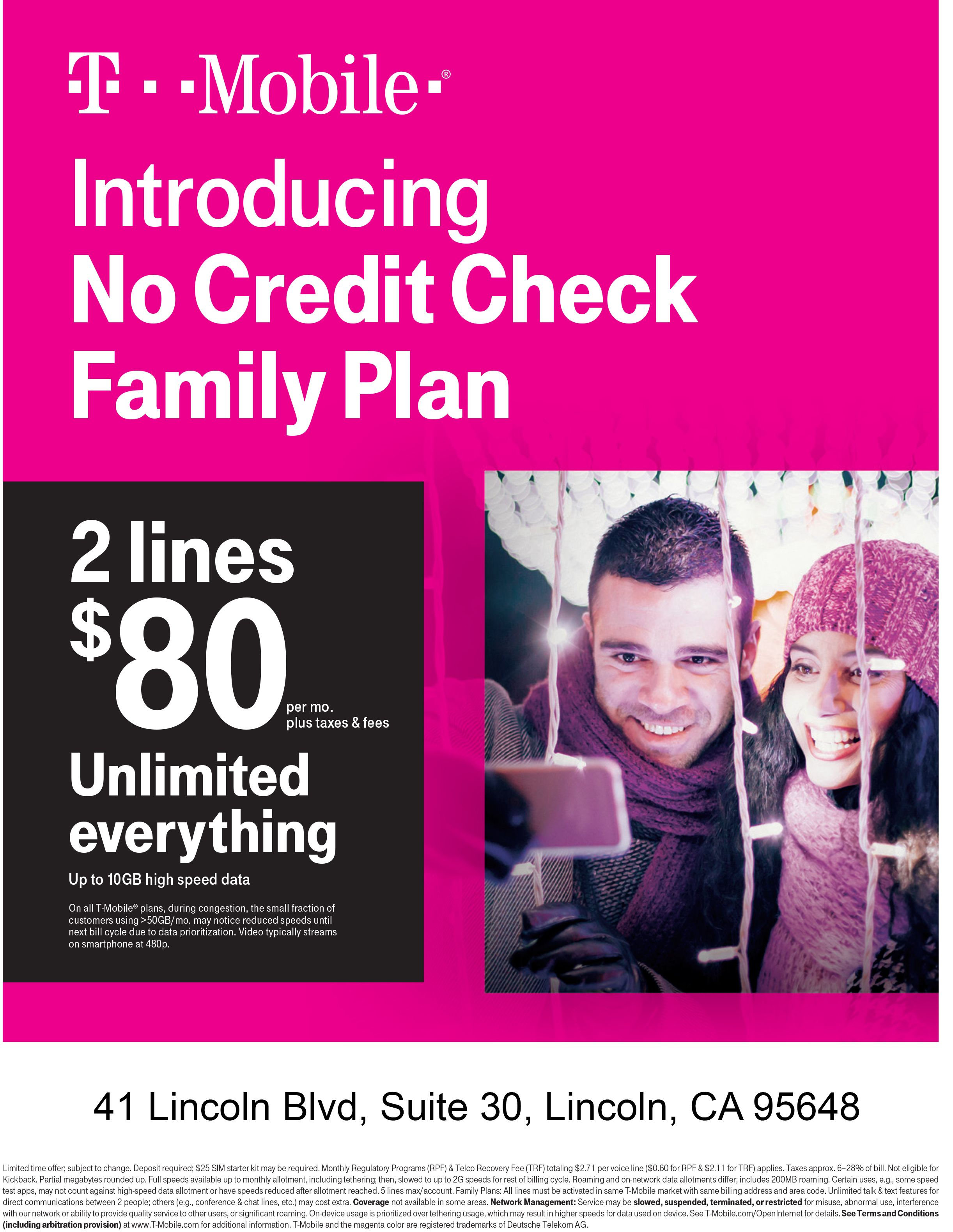 Introducing no credit check family plan  2 lines for $80/mo