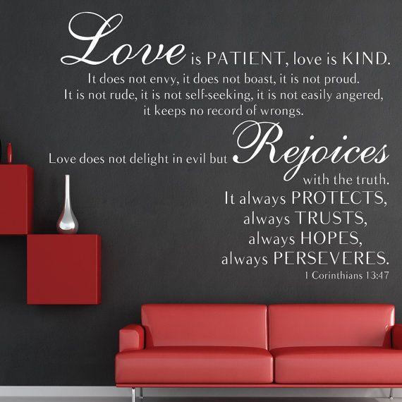 Bible Wall Decals 1 Corinthians 13 47 Love Is Patient Love Is Kind Wall Decal Decor Bible Wall Decals Love Is Patient Wall Decals