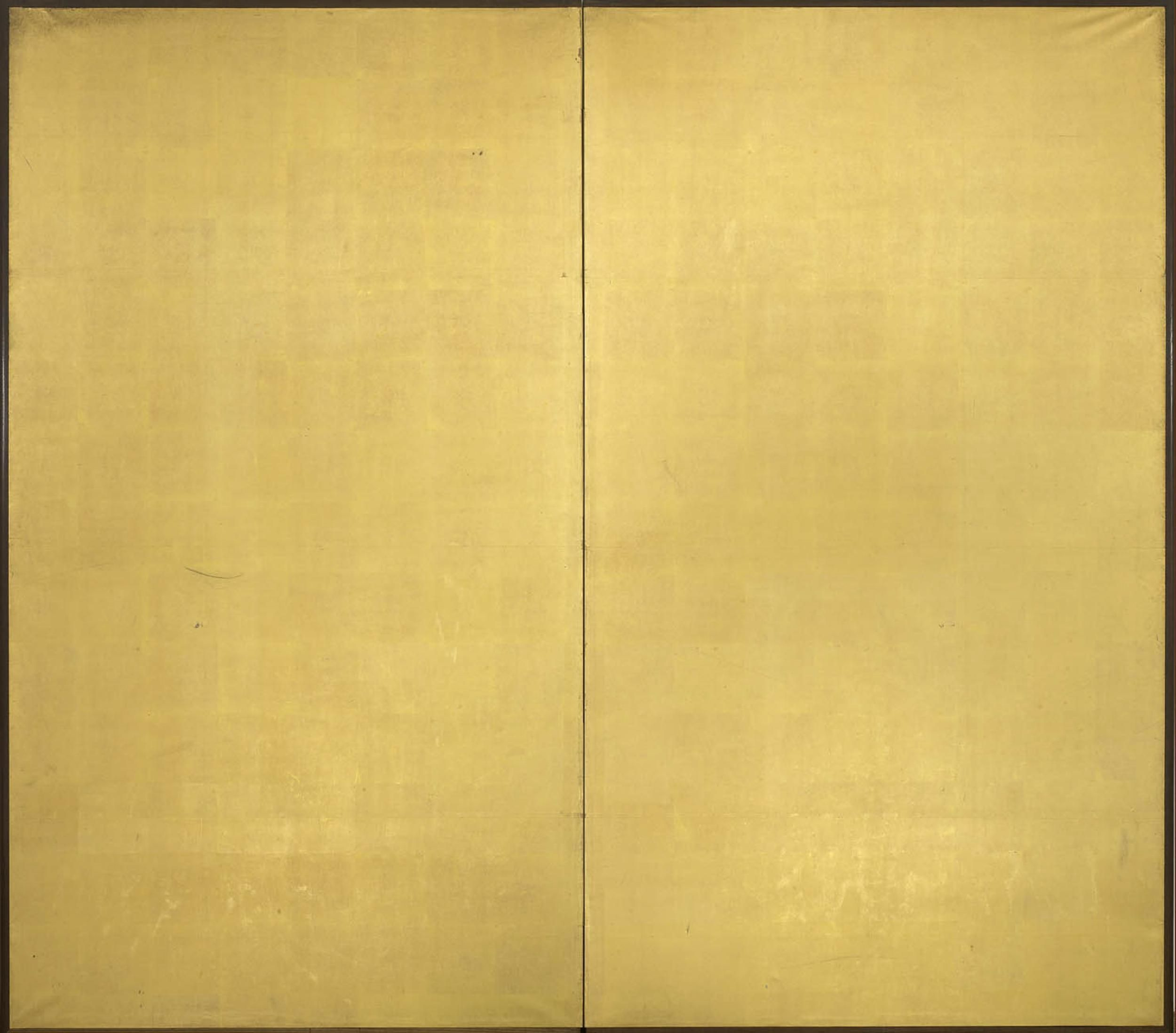 a two fold paper screen in plain gold leaf 20th century. Black Bedroom Furniture Sets. Home Design Ideas