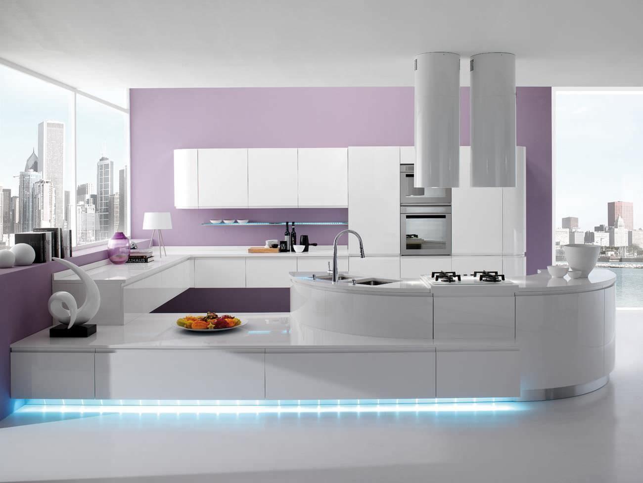 Torchetti Cucine Moderne.Cuisine Contemporaine En Bois Avec Ilot Laquee Seven