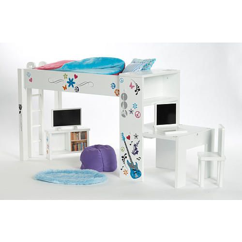 Doll Furniture Loft Bed U0026 Bedroom Set Made To Fit 18 Inch American Girl  Mckenna