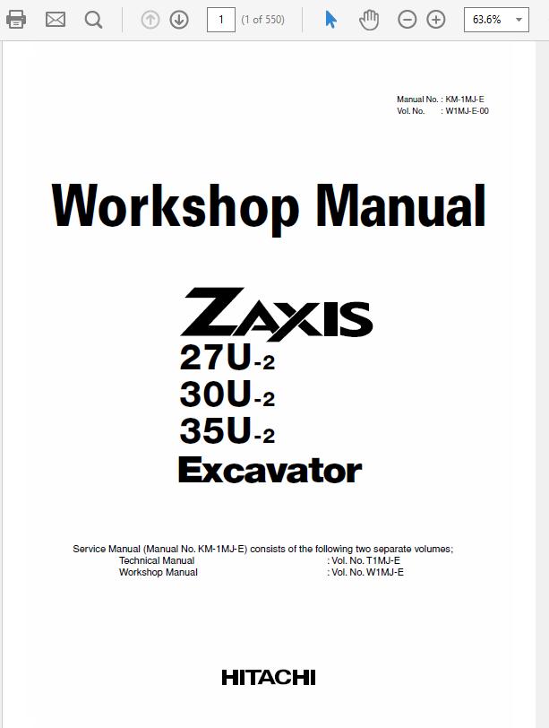 Hitachi Zaxis ZX27U-2, ZX30U-2, ZX35U-2 Excavator Service