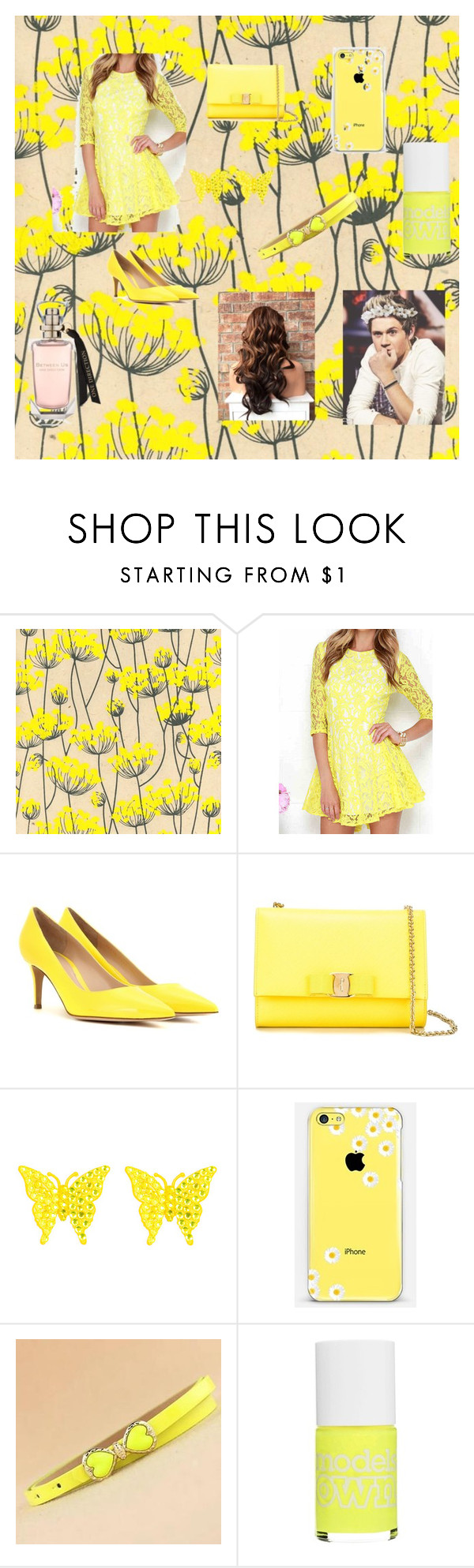 """""""Formal Yellow"""" by alexhoran0720 on Polyvore featuring WithChic, Gianvito Rossi, Salvatore Ferragamo, Tarina Tarantino, Casetify, Charm n Style, Models Own, women's clothing, women and female"""